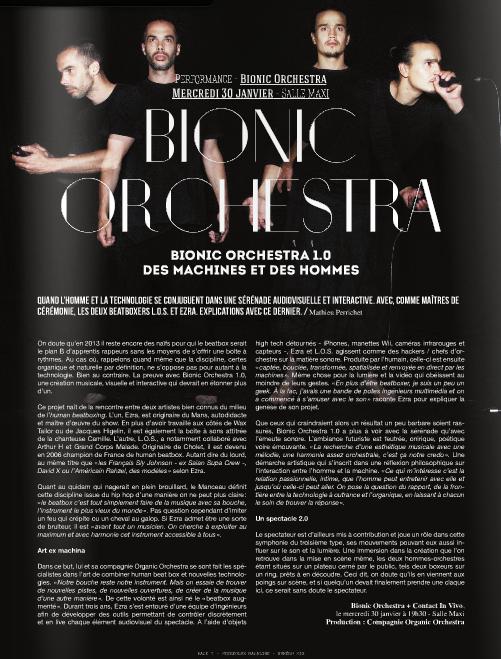 Bionic Orchestra 1.0, Des machines et des hommes